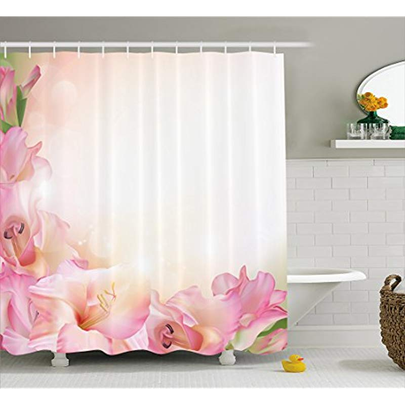 Vixm Pink And White Shower Curtain Orchid Blossoms Corner