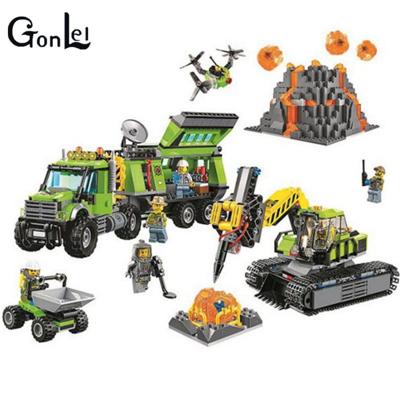 (GonLeI) 10641 City Series Volcano Exploration Base Geological Prospecting Building Block DIY Bricks Toys Gift For Children lepin 02005 volcano exploration base building bricks toys for children game model car gift compatible with decool 60124