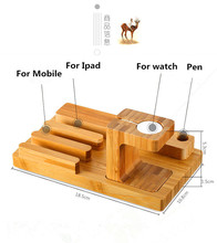 New Charging Dock Station With USB Port Charger Bamboo Cradle Holder Stand For Apple Watch iPhone Ipad