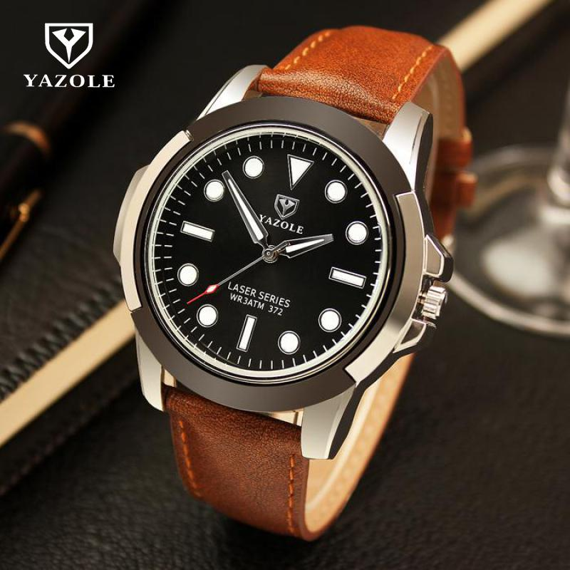 Fashion YAZOLE Sports Running Climbing Waterproof 3ATM Leather Big Dial Shockproof Quartz Wrist Watch Clock for Men Boy 372Fashion YAZOLE Sports Running Climbing Waterproof 3ATM Leather Big Dial Shockproof Quartz Wrist Watch Clock for Men Boy 372