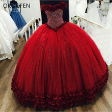 Ball Gown Quinceanera Dresses Red 3D Flowers Major Beading Sweet 16 Prom vestidos de 15 anos Sixteen robe bal dulces