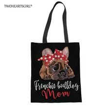 Twoheartsgirl Black French Bulldog Print Shoulder Bag Canvas Tote Beach Bag for Women Cute Stylish Ladies Shopping Handbags stylish geometric print and zipper design women s tote bag