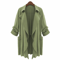 Long Army Green Autumn Winter Plus Size American Apparel Women Fashion Turn Down Collar Asymmetrical Trench