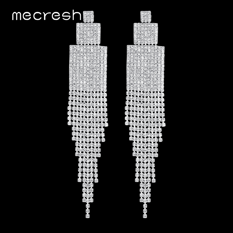 Mecresh Crystal Tassel Earrings for Women Silver Color Brida