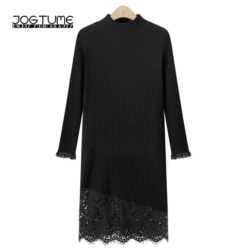 JOGTUME Womens Oversized Long Sweater Dresses 2017 Autumn Elegant Lace Patchwork Knitted Sweater Dress Black High Quality 5XL
