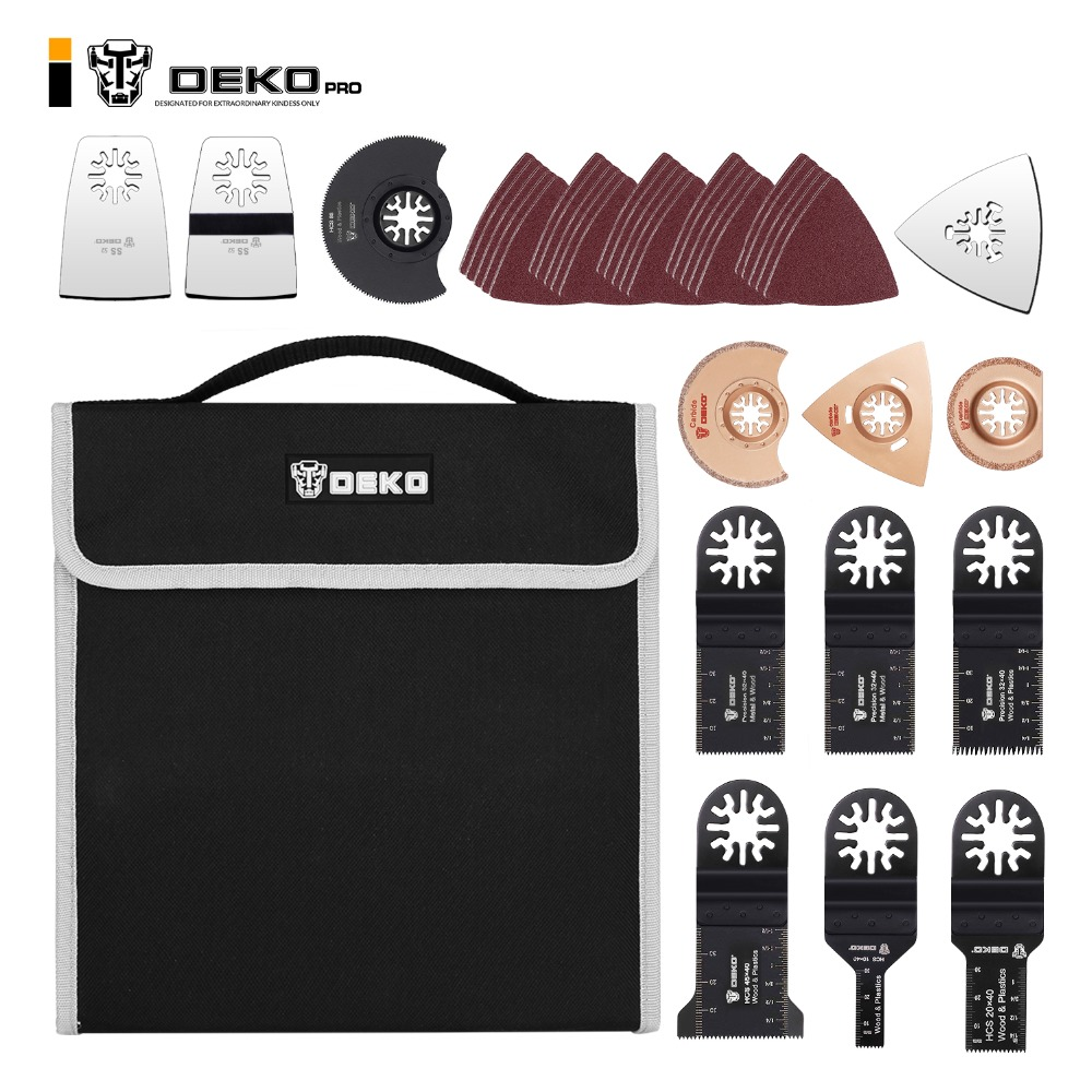 DEKO 38pcs Multifunction Oscillating Tool Quick Release Multitool Blades Power Tools Accessories Set With A Storage Bag