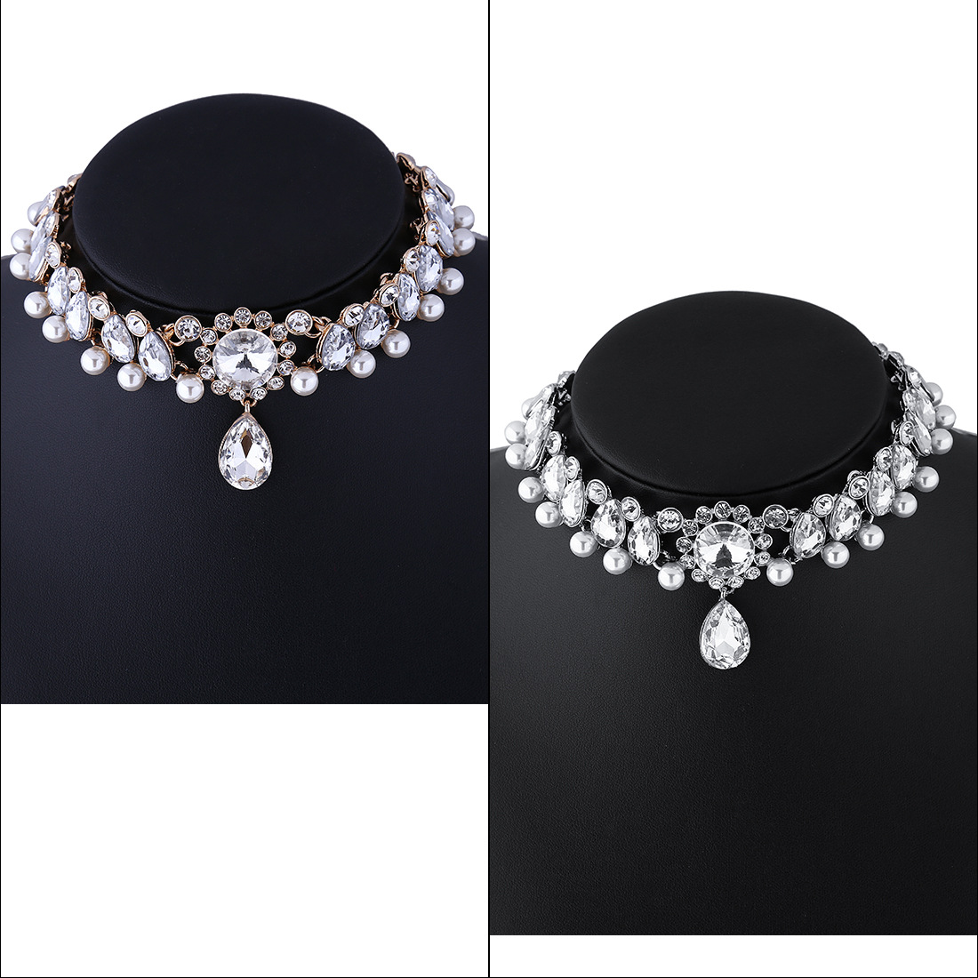 Jewdy Boho Collar Choker Water Drop Crystal Rhinestone pendant Necklace for women Vintage Simulated Pearl Statement Maxi Jewelry 3