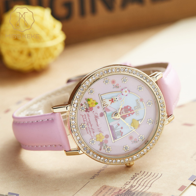 Miss Keke Brand Girls 3D Clay Flower Cartoon Watch Pink Leather Designer Watches Diamond Gold Wrist Watch 1060 relogio feminino