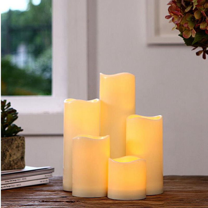 15/13/10/7cm Cylindrical Flickering  Battery Operated Led Candle Light Flameless Christmas Lamp Dropshiping