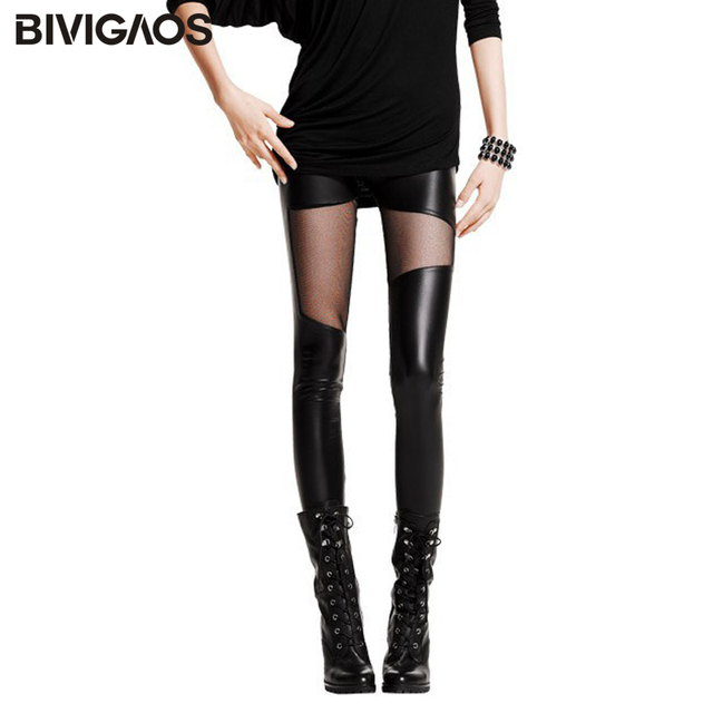 New Fashion Women's Slim Sexy Thigh Black Transparent Mesh Gauze Splicing Faux Leather Leggings Elastic Pencil Pants For Women