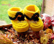 Crochet shoes  pink folower infant knitted first walker Crochet baby shoes first walker loafers 0-12M cotton Baby shoes custom