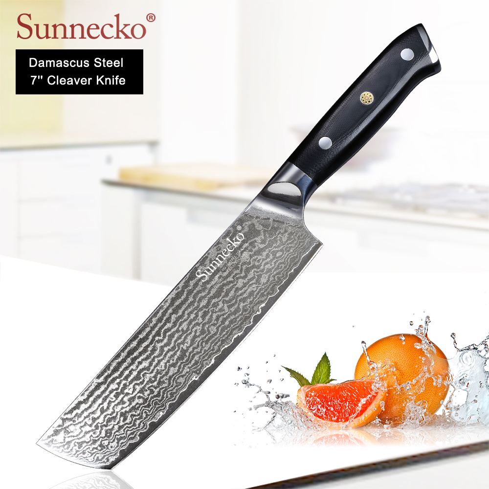 SUNNECKO Professional 7 Nakiri Cleaver Knife Damascus Japanese VG10 Steel Blade Kitchen Knives G10 Handle Meat