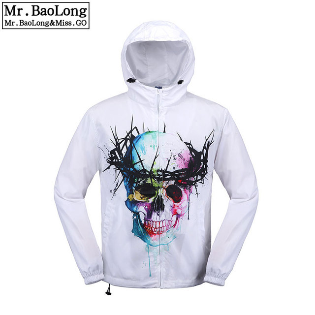 New Arrival Men's Coat With Skulls Printing Peace and the olive branch White Cool Styles Long Sleeves Unisex Trench #f1005