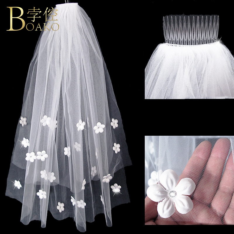 BOAKO Short Applique Bridal Veils Wedding Accessories Ivory Double Layer Wedding Veil With Comb White Bride Hairdress Veils K5