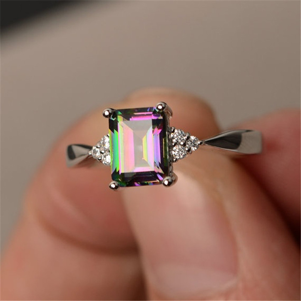 Exquisite Silver Ring Princess Cut Rainbow Stone Wedding Rings Zircon Ring For Women Bijoux Anel Femme Engagement Ring Jewelry