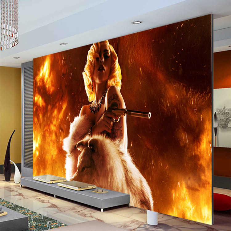 Fashion photo wallpaper gun wolf wall mural custom for Celebrity mural