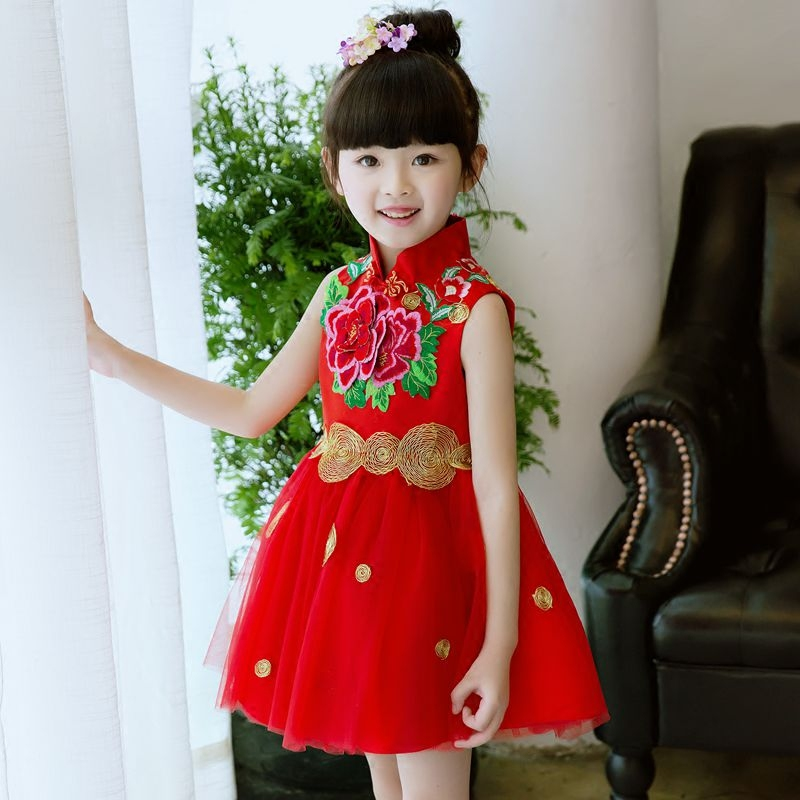 New Fashion Sequin Embroideried Dress For Party Summer 2017 Wedding Girls Princess Red Dresses Kids Birthday Party Clothes girls dress ruffles tulle tiered dress sequin party birthday princess 2016 summer wedding dresses kids clothes size 4 12 pageant