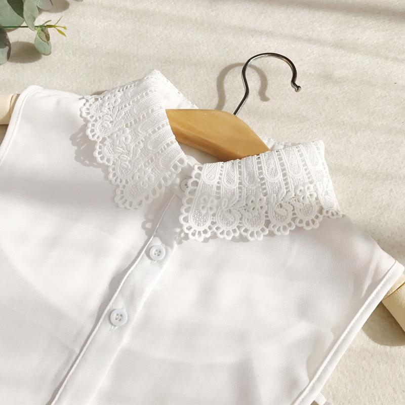 Shirt Fake Pure Collar White Black Tie Lace Vintage Detachable Collar False Collar Lapel Blouse Top Women Clothes Accessories 20