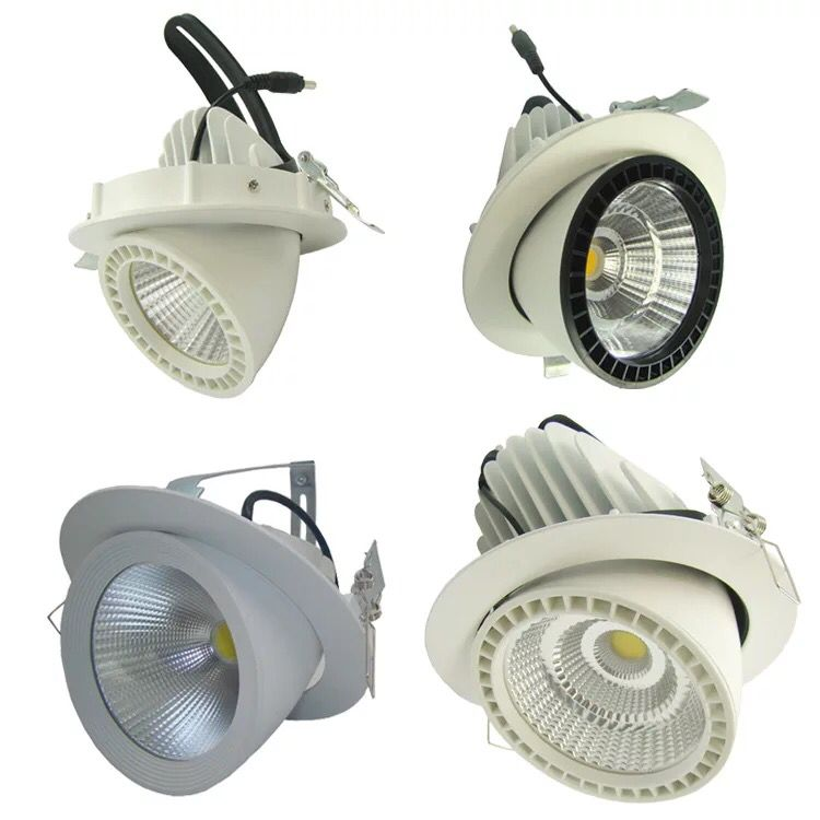 Free Shipping 20w 30w 40w 50w 25degree Cutout 128mm 155mm 175mm Ac85-265v Tiltalbe Led Down Light Led Trunk Light free shipping high quality 30w cree cob chip led down light embedded led trunk lamps lighting with led driver ac85 265v