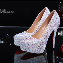 Fashion Platform Shoes Woman Rhinestone Women Pumps Red Gold Party Wedding Shoes Women's 8CM 11 CM 14CM Red Bottom High Heels