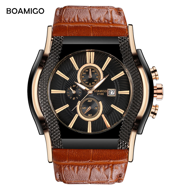 BOAMIGO Brand Luxury Creative Men Quartz Watch Big Dial Male Watches Leather Strap Wristwatch Auto Date Clock Relogio Masculino