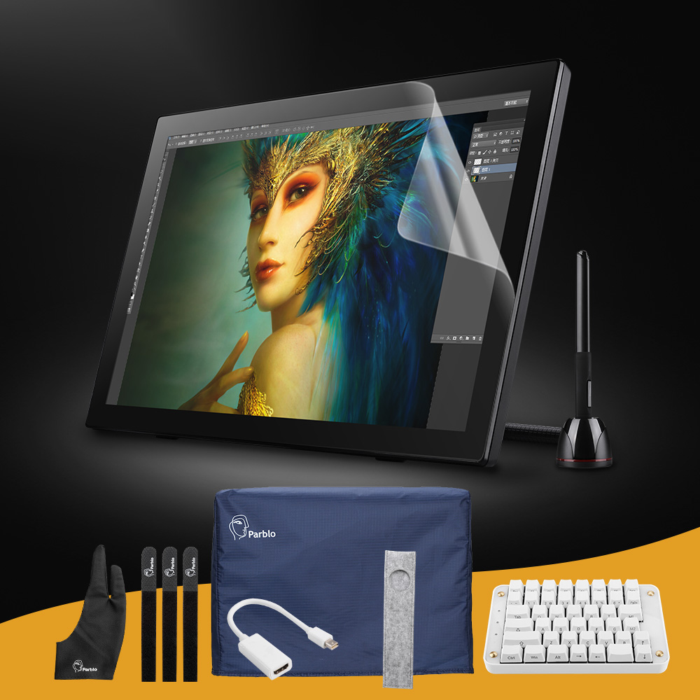 Parblo Coast22 21.5 HD Monitor Pro  IPS Graphic Tablet + Cordless and Battery-free Digital Pen+ Mechanical Gaming Keyboard parblo coast10 10 1 ips art drawing graphic monitor one hand mechanical gaming keyboard clip studio paint pro manga studio