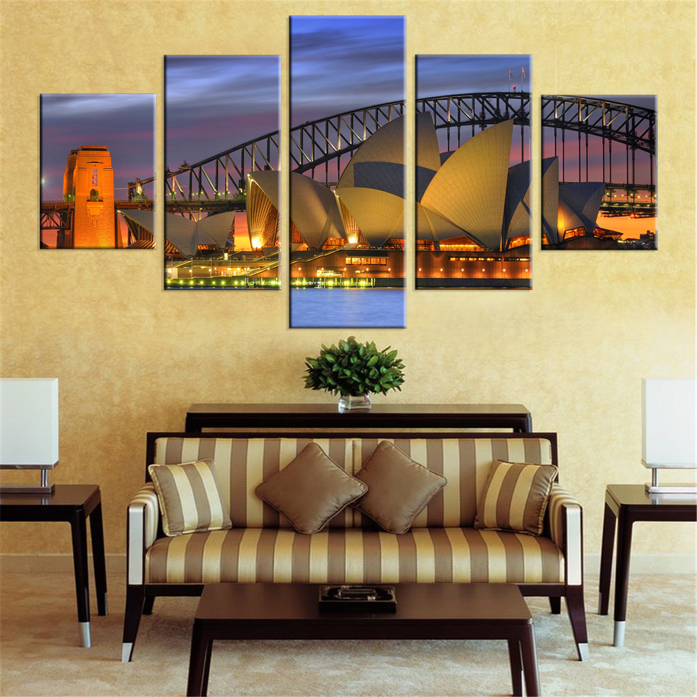 Unframed Harbour Bridge Canvas Prints Sydney Night Scenery Home ...