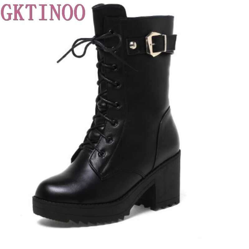 New Fashion Women Shoes Winter Boots Genuine Leather Martin Boots High Heels Inside Wool In-tube Snow Boots Women Boots 2017 new women s genuine leather boots motorcycle boots rough with in tube high heeled boots thick wool really pima ding