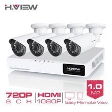 H. View 4CH CCTV Sistema 720 P HDMI 8CH CCTV AHD DVR 4 UNIDS 1.0 MP Cámara 1200 TVL Cámara de Vigilancia de Seguridad Al Aire Libre IR Sistema