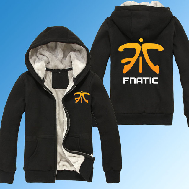 LOL CS CSGO Gaming Team Clan Fnatic Winter Thicken Hoodies Sweatshirt personalized Coat Hoodie