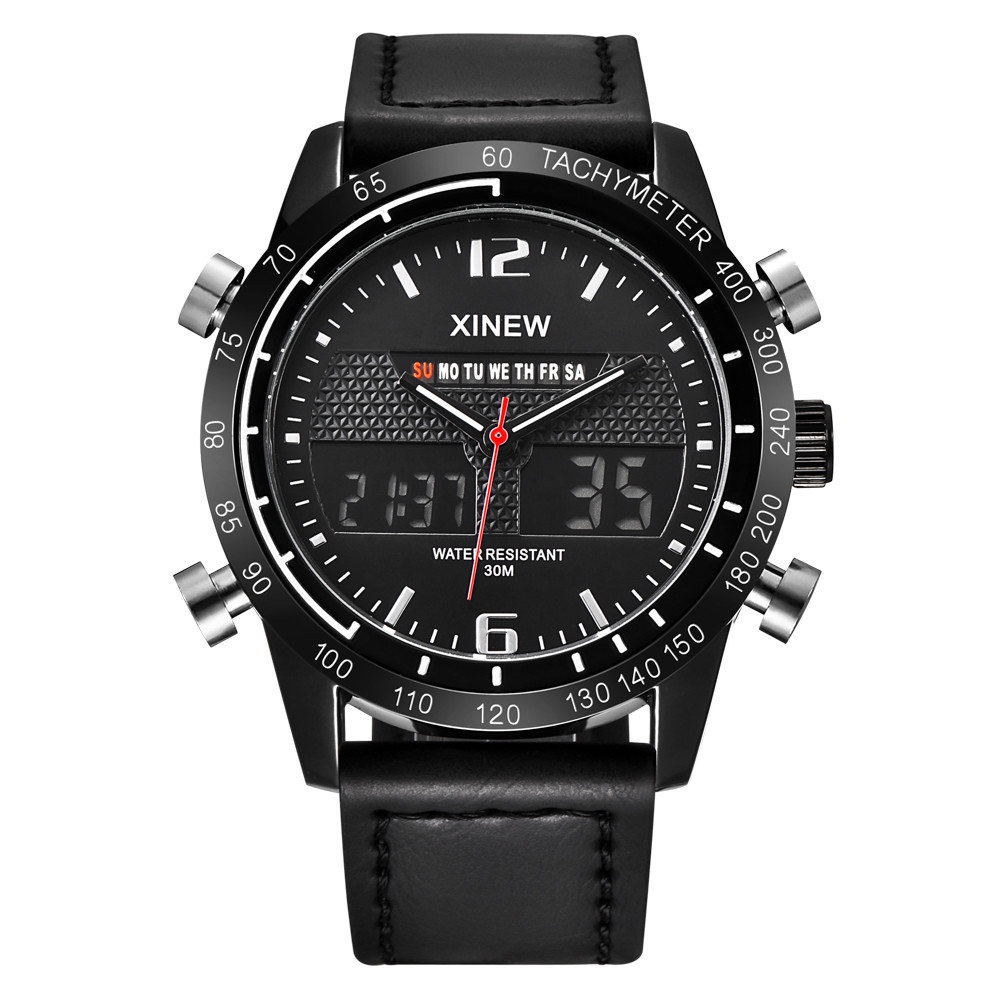 Watch Men Military Quartz sports Watch Mens Army style Watch Waterproof Sports LED Digital Analog Leather Wrist Watch fast ship men s military style fabric band analog quartz wrist watch black 1 x 377