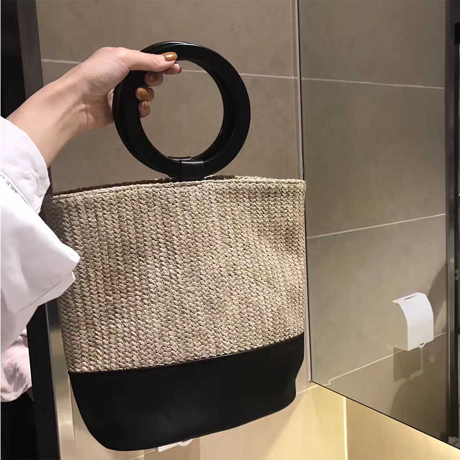 Anel de Tecelagem do vintage Mulheres Saco de Costura PU Alça Superior Bolsa de Palha Balde Saco de Embreagem Contraste Boêmio Beac Sacos Pacote Senhora