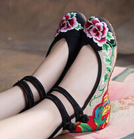 2016 New Arrival Old Peking Mary Janes Shoes Women S Chinese Shoes Heel Women Embroidery Canvas