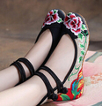 2016 New Arrival Old Peking Mary Janes Shoes Women's Chinese Shoes Heel Women Embroidery Canvas Shoes Size  8 9