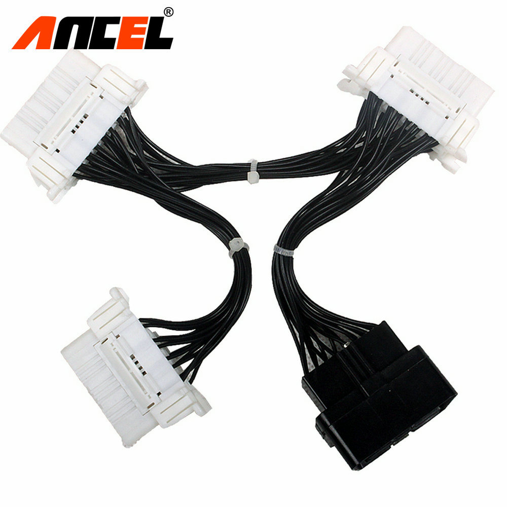Prix pour OBD OBD2 16Pin Câble 16 Broches Splitter Extension Y Connecteur Mâle À Femelle Connecteur Pour Elm327 Adaptateur