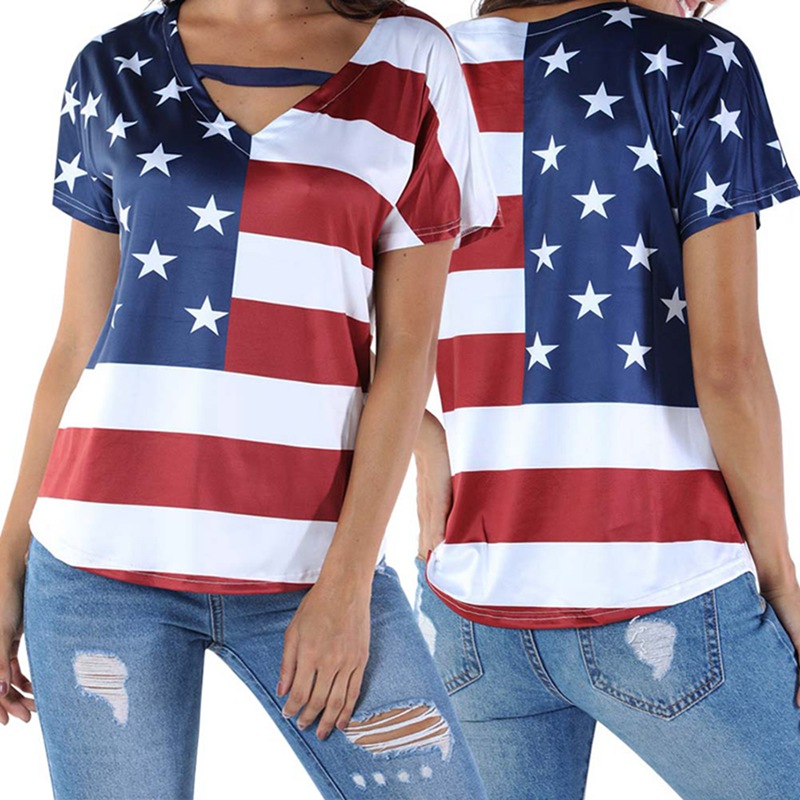 2019 New Women American USA Flag Striped Printed Short Sleeve Casual Loose tees Tops