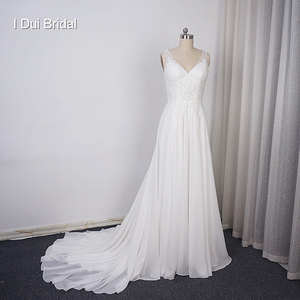 Image 1 - Chiffon A line Wedding Dress V Neckline with Lace Appliques Beaded Illusion Back with Button