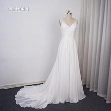 Robe de mariée en mousseline de soie, ligne A, col en V, avec des Appliques en dentelle, Illusion perlée au dos avec un bouton