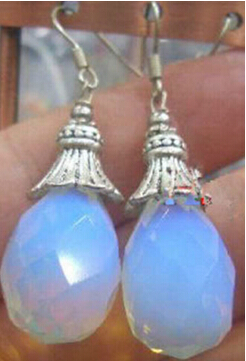 Bridal jewelry free shipping hot sellFaceted Sri Lanka Moonstone Earring Silver Hook