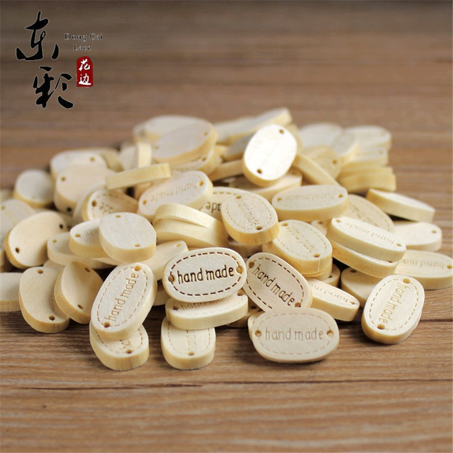 100 x Wooden Buttons DIY Decorative Buttons 2 Holes for Hand Sewing Crafts