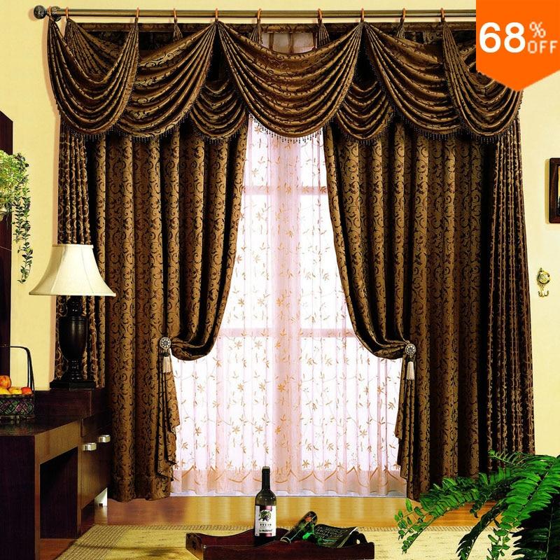 € 148.04 10% de DESCUENTO|Marrón oscuro cola de pavo real Espaolas Barroco  cortinas varilla palo cenefa clásico habitaciones dormitorio cortina ...