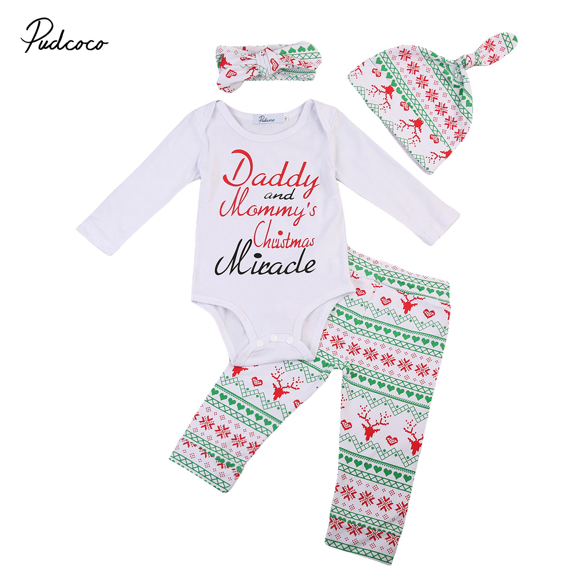 2017 Christmas Newborn Toddler Baby Boys Girls Winter Clothes Long Sleeve Romper Bodysuit+Pants Outfits Set 4Pcs Hat Handband 3pcs set newborn girls christmas clothes set warm hat letter print romper love arrow print pants leisure toddler baby outfit set