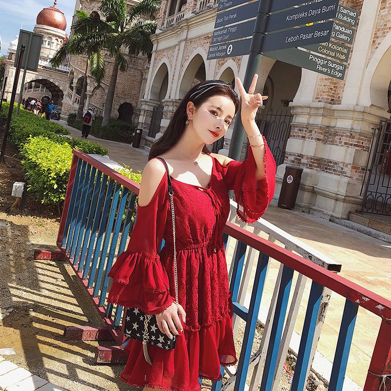 2019 Spring Women Flare Sleeve Red Lace Sexy Shoulder Design High Quality A line Dress Female Party Dresses 3