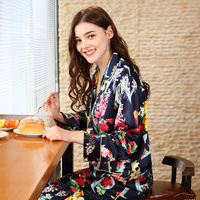 Free Shipping SpaRogerss Women Silk Pajamas 2018 Spring New Ladies Pajama Set Brand Pants Home Clothing Suit Sleep Lounge TZ629