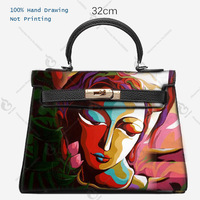 Women Totes Togo leather Hand Drawing Art Graffiti Girl Face Genuine Leather Handbags Luxury Designer Bags Gift Custom for women