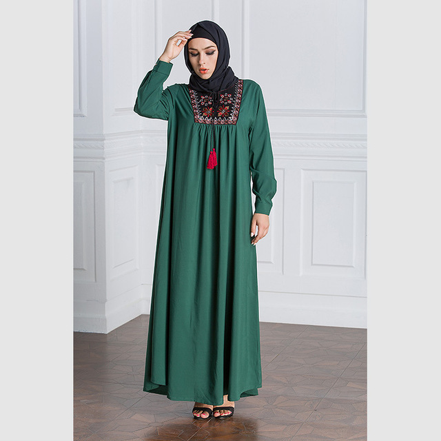 Women Long Sleeve Embroidery Patchwork Abaya Loose Plus Size Robe
