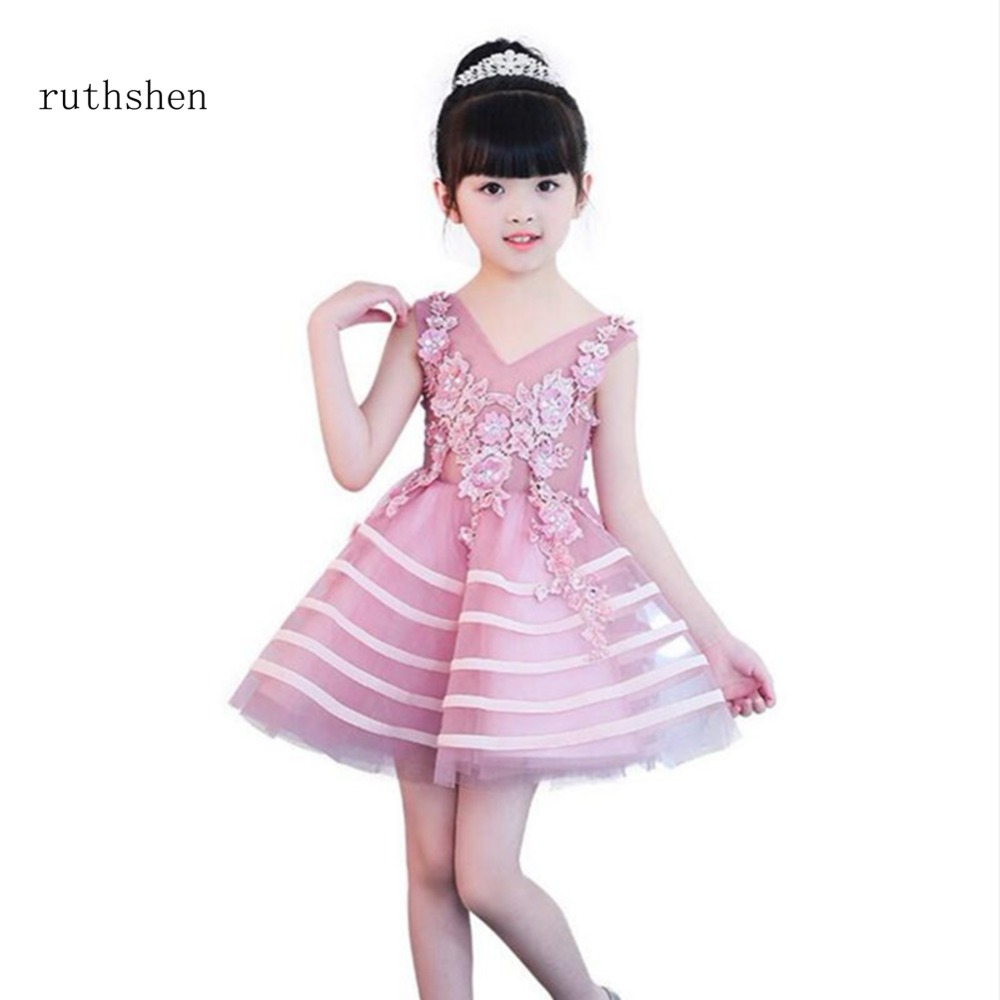 ruthshen In Stock 2018 Princess Short Baby   Flower     Girls     Dresses   For Weddings With Crystals Beadings Kids Mini Length Party Gowns