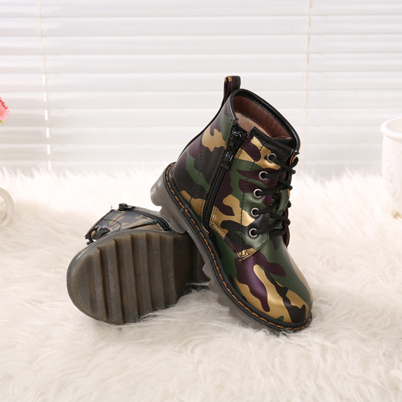 Boots for Children Camouflage Casual Shoes Thick Lace up Martin Boots Boys  Comfortable Toddler Rain Boots Kids Girls Bota Menina-in Boots from Mother    Kids ... 72eab4734a8d