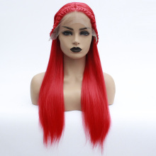 Synthetic Lace Front Wig Women's Straight Red Braid Hair Heat Resistant Braided Wig Long Lace Front
