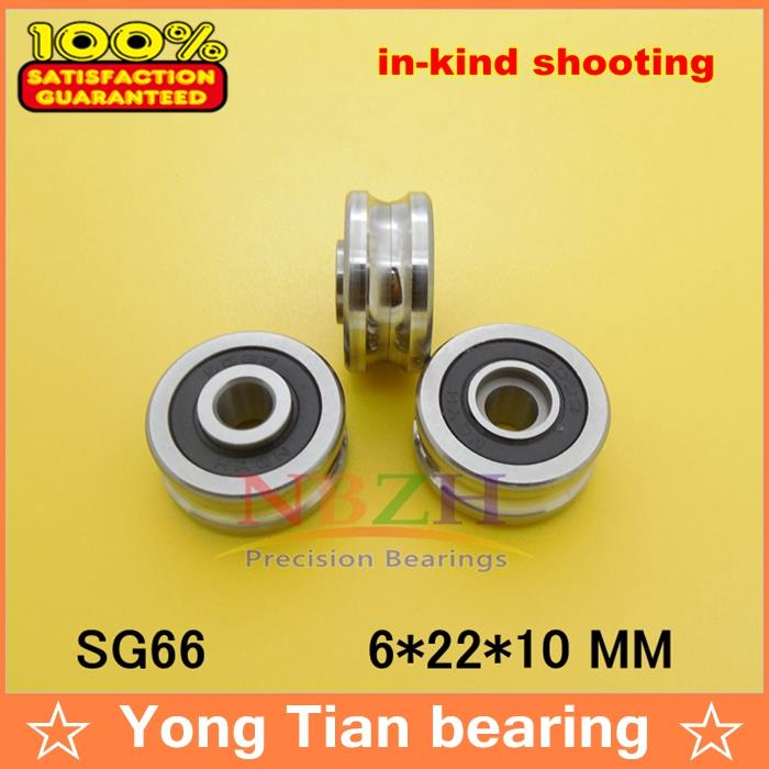 10PCS SG66 2RS U Groove pulley ball bearings 6*22*10 mm R3U Track guide roller bearing (Precision double row balls) ABEC-5 tv0630 tv0630vv v groove pulley ball bearings 6 30 8 mm track guide roller bearing